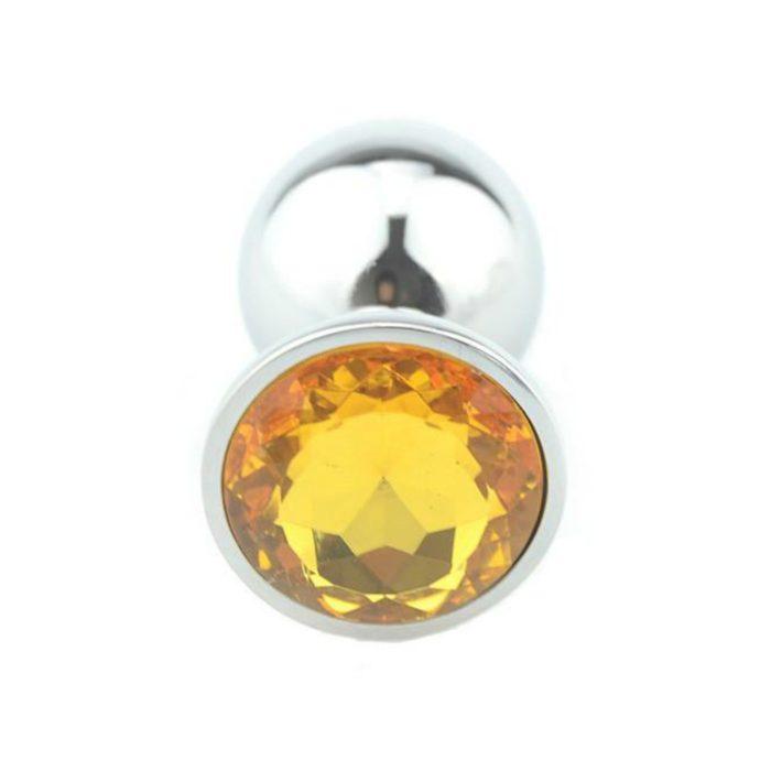 Yellow Gold Precious Jewel Butt Plug