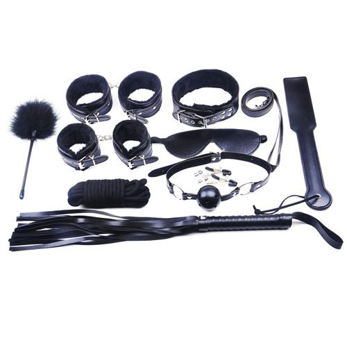 10 Piece Black Fur Bondage Kit