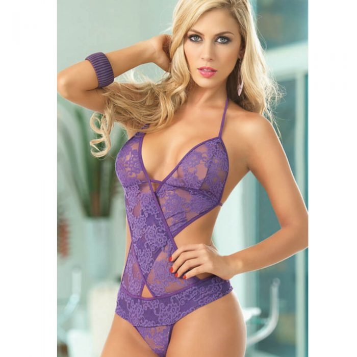 Sexy One Piece Purple Lace Lingerie
