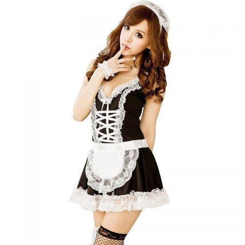Womens Maid Halloween Costume Lingerie Cosplay Naughty French Maid Dress Fantasy